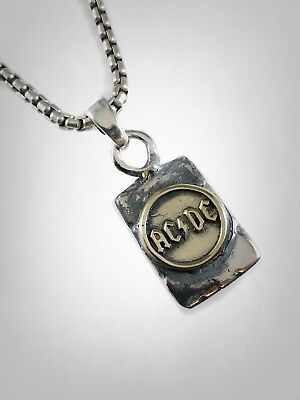 AC/DC Rock Band Brass & Solid Sterling Silver 925 Handmade Dog Tag Pendant
