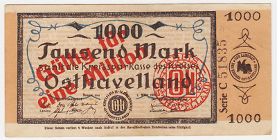 1 Million Mark Nauen, o.D., Serie C, Osthavelland, Notgeld Brandenburg