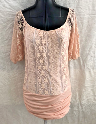 Sexy Hello Miss Soft Pink Floral Lace Short Stretchy Dress Gathered Skirt Small