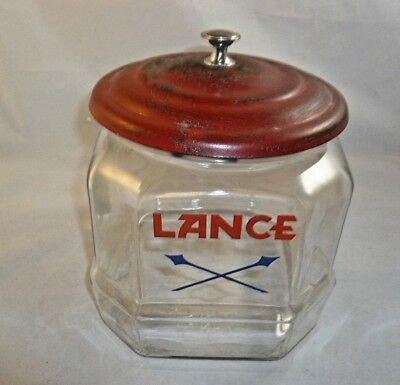 Vintage Lance Cookie Cracker 8 sided Glass Storage Jar Arrows Red Metal Lid