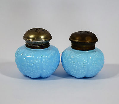 "Victorian Challinor Taylor & Co Forget Me Not Opaque Turquoise 2.5"" S/P Shakers"