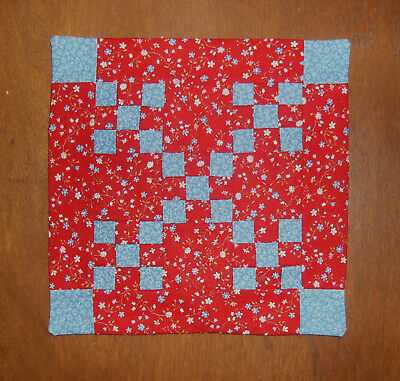 """1:12 Scale Dollhouse Quilt  -  6 1/2 """"  x  6  1/2 """"   -  Red Calico"""