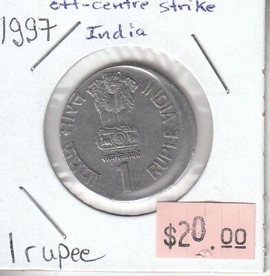 India Republic 1 Rupee 1997 Error Off-Center Struck Planchet Circulated