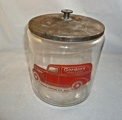 Vintage Gordon's Fresh Foods Glass Storage Jar  Metal Lid Red Truck Logo