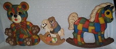 70's Era Nursery Decor Wall Plaques Patchwork Rocking Horse Teddy Bear Set of 3
