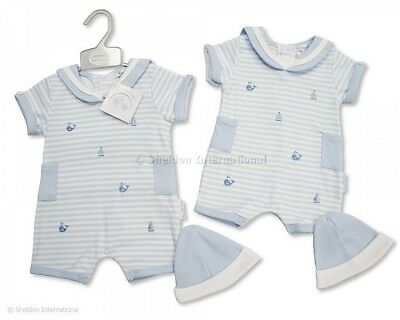 8c99d01a692 BABY BOY BLUE White Stripe Romper Traditional Spanish Outfit Sailor Boats  Whales - £11.49