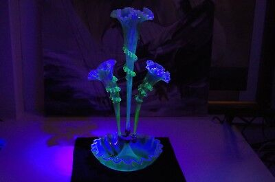 1880's Antique Victorian Glass, EPERGNE green opulence, amazing condition!