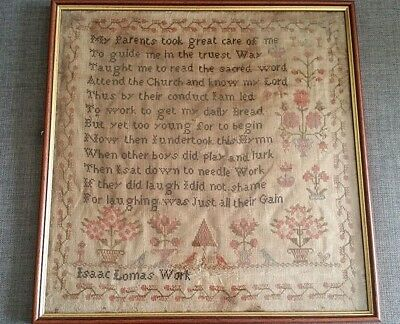 Victorian Sampler Worked By A Boy Isaac Lomas Very Rare