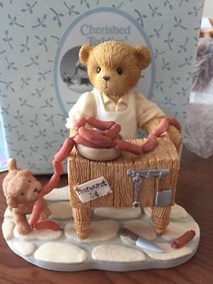 "Cherished Teddies ""Otto"" Butcher/Saugage Figurine European/Germany Excl 2001"