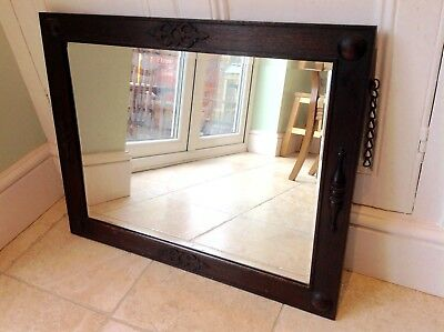 Vintage / Mid Century Mirror with bevelled glass, oak frame and original chain