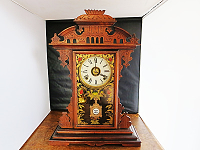 Antique E. N. Welch 8 Day Time & Strike Gingerbread Kitchen/Parlor Clock