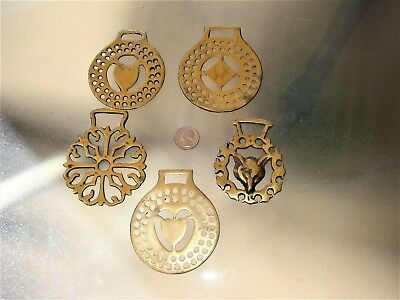 Vintage Brass Horse Harness Medallions (5)