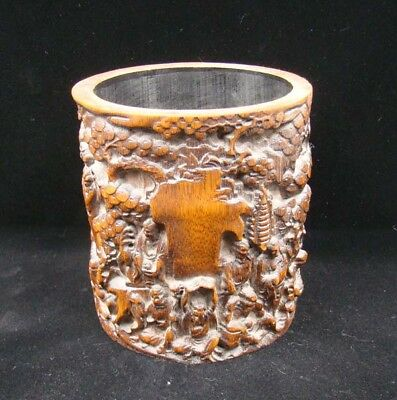 Collectible Handmade Carving Bamboo Brush Pot Statue Eighteen Rohan