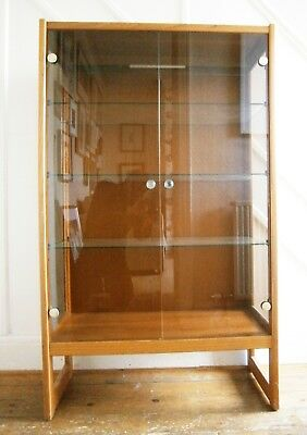 *Illuminated* Teak Display Cabinet, Glass Shelves  - Action Figures Model Cars