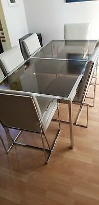 7 piece glass and chrome retro dining set with 2 leaves
