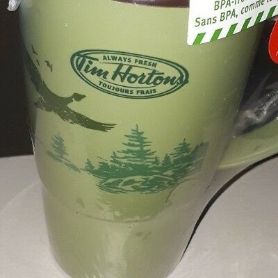 """TIM HORTON'S THERMO-SEAL INSULATED GREEN TRAVEL MUG FLYING GEESE 16oz  8.5"""" Tall"""
