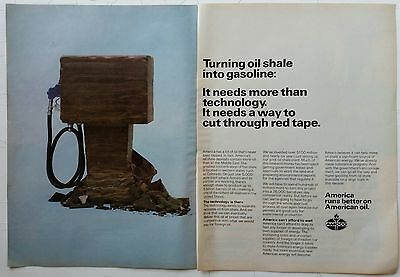 Amoco Turning Oil Shale into Gasoline                  1980 2-Page Advertisement
