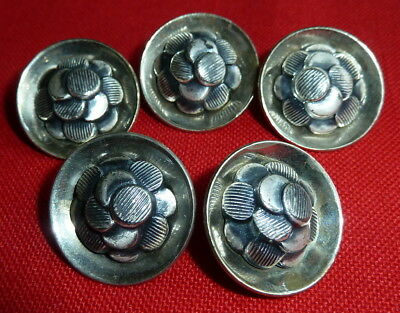 Lot of 5 Matching Vintage Buttons Silver Tone Floral Coin Pattern Shank Back