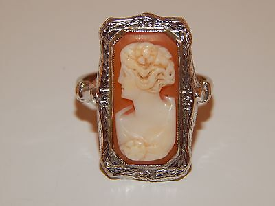 CAMEO Ring Original Art Deco 14k White Gold Filigree Estate Vintage Hand made