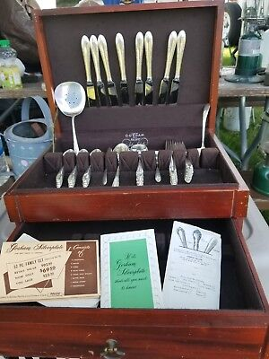 Gorham INVITATION Silverplate Flatware 62 Piece Set with Original Wood Box 1940
