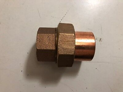 "RED BRASS COPPER Union 1-1/2"" SWEAT COUPLING NIBCO"