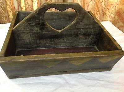 Antique Folk art Cutlery Tray heart cut out handle painted decorated estate find