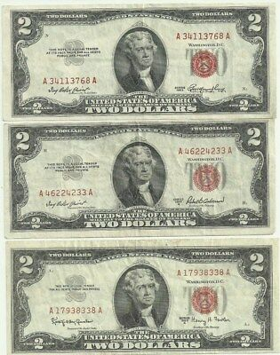 1953+1953A+1963A Two Dollar Red Seal Notes   Nice Looking Notes!!!