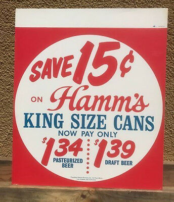 """1965 Hamms """"King Size"""" cans beer sign San Francisco, Los Angeles, Milwaukee"""