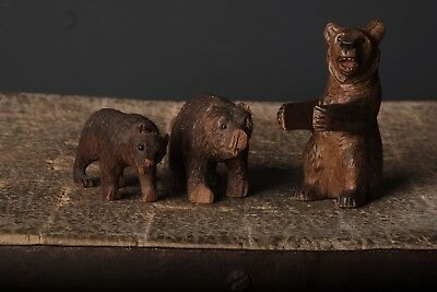3 Antique Hand Carved Black Forest Wooden Bears with Glass Eyes