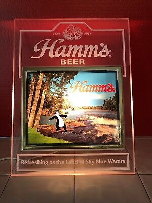 Hamms Beer Light Up Sign With Bear Testing The Water With His Toes