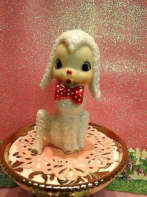 Vtg Anthropomorphic Sugared Texture Fur White Baby Lamb W Red Polka Dot Bow Tie