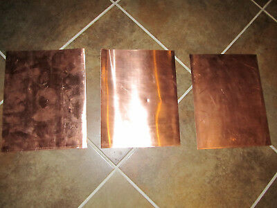 "Qty of 3 Copper Sheet .031"" Thick - 24oz per sf - 20 Ga - 8.5"" x 11"" 3 pcs!"