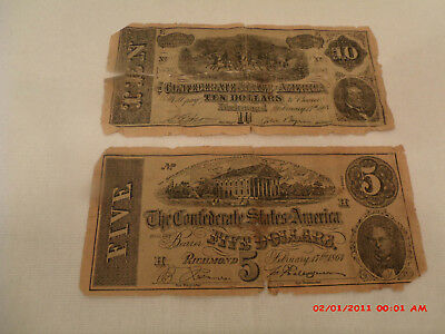 1864 Confederate States of America $5/$10 Notes