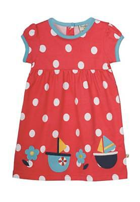 Baby Girls FRUGI Summer Ruby Applique Sail Boats Red Dress 0-3 Mths BNWT