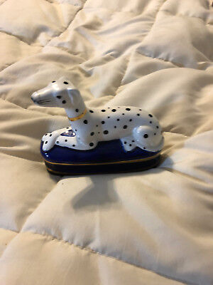 Vintage Korea Fitz And Floyd White Spotted Puppy Dog Covered Trinket Box