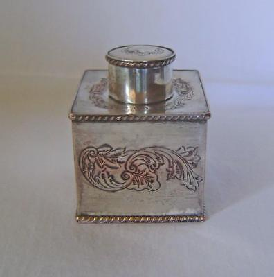 Old Sheffield Plate Tea Caddy of Square Shape: Gadrooned Edge: Silver on Copper