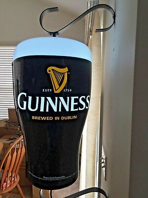 MINT! NEW! GUINNESS HARP ROTATING PINT GLASS LIGHTED BEER SIGN New In Box! NICE!