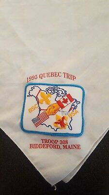 Boy Scouts Bsa Bsc Canada Usa Flag Hand Shake  Handkerchief With Patch