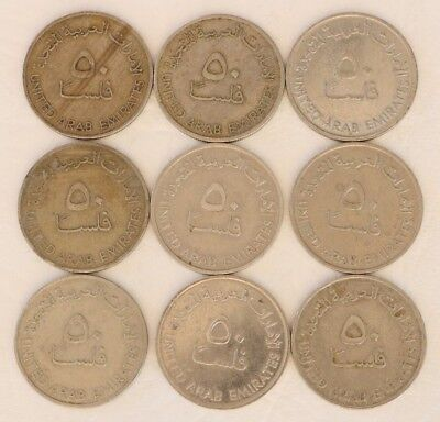 50 Fils United Arab Emirates Uae 1973-1989 Coin Lot Of 9 World Combined Ship D11