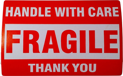 FRAGILE Please Handle With Care **Thank You**  2 X 3 Shipping Label Stickers Red