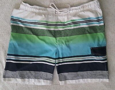 184bf95581 Mens Sonoma White Blue Green Stripe Swim Suit Board Shorts Surf Trunks  Lined XXL