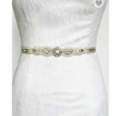 Satin Sash with Rhinestones & Beading with Gray Ribbon - 80162 -formal accessory