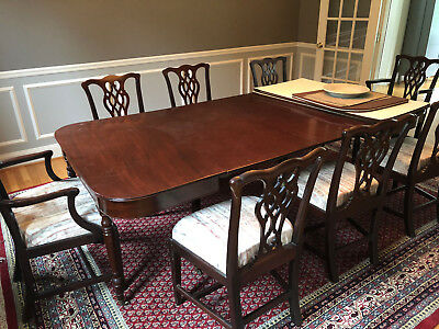 Antique Dining Set Mahogany, Extension Table, 3 Leaves, 8 Chairs