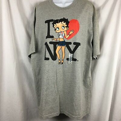 Betty Boop I Love New York Collectible Graphic T-shirt Grey XL NWT