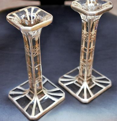 Vintage Art Deco Nouveau Sterling Silver Overlay Candle Holders Candlesticks