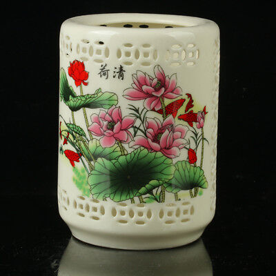 Chinese Porcelain Hand-Painted Fish Brush Pot  Mark As The Qianlong R1089+a