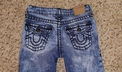 True Religion Geno Slim Fit Super T Jeans-Thick Stitch-Skyline- Size 8 $129