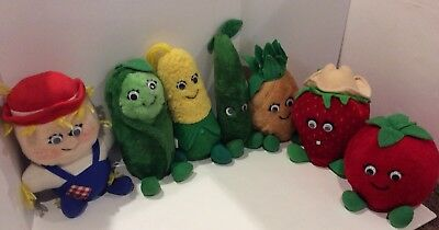 Vintage 1980's Del Monte Original Country Yumkin Plush Stuffed Toys Lot Of 7