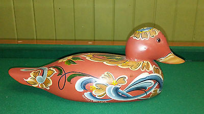 Solid Wood Hand Painted Decoy Duck Artist Signed Carolyn Borgen