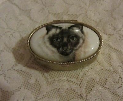 Ceramic Cat Pattern Etched Silver Toned Pill Box